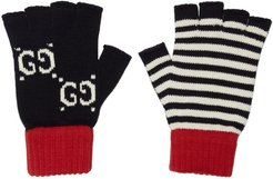 Navy and Red Striped GG Gloves