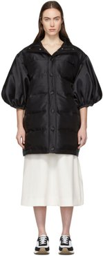 Black Ballon Sleeve Puffa Coat