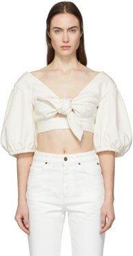 White Cropped Bow Front Blouse
