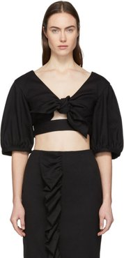 Black Cropped Bow Front Blouse