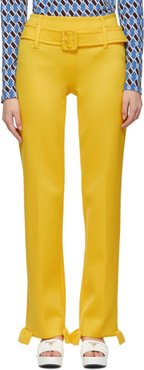 Yellow Ruffled Belted Trousers