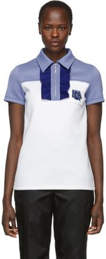 White and Blue Logo Zip Polo
