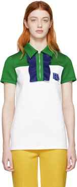 White and Green Zip Polo