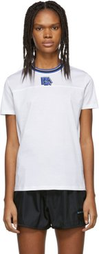 White and Blue Ribbed Collar T-Shirt