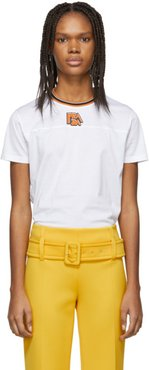 White and Orange Ribbed Collar T-Shirt