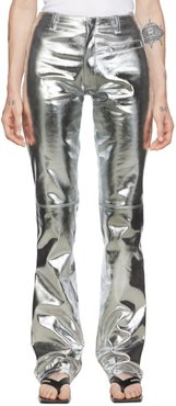 Silver Foiled Flared Trousers