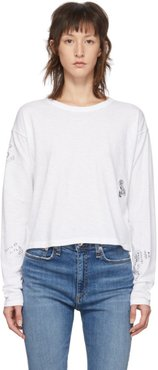 White Cropped Tattoo Embroidered Long Sleeve T-Shirt