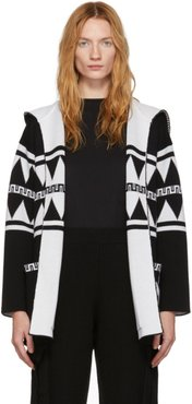 Reversible Black and White Wool Crazy Monkey Hooded Cardigan