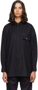 Navy Flannel Piko Embroidery Side Line Shirt