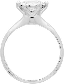 Silver Solitaire Diamond Ring Single Earring