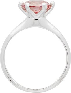 Silver and Pink Solitaire Diamond Ring Earring