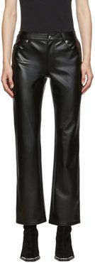 Black Stretch Faux-Leather Trousers