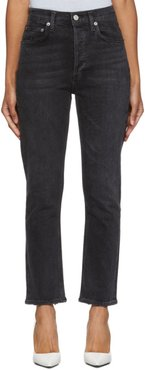 Black Riley Hi-Rise Straight Crop Jeans
