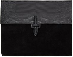 Black Lizard and Suede The Soft Clutch