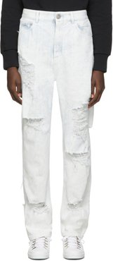 Blue and White Distressed Coated Jeans