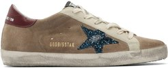Beige and Blue Suede Superstar Sneakers