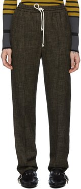 Black and Brown Wool Houndstooth Trousers