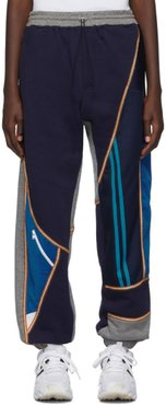 Grey and Navy Patchwork Jogger Lounge Pants