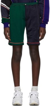 Greenand Navy Patchwork Shorts