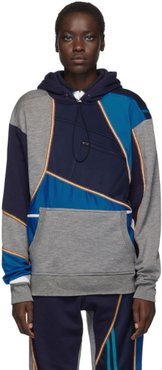 Blue and Grey Patchwork Hoodie