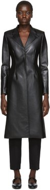 Black Faux-Leather Tailored Coat