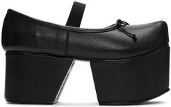 Black Separated Platform Ballerina Flats