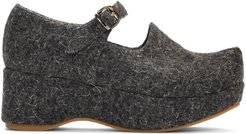 Grey Wool Mary Jane Platform Ballerina Flats