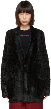 Black Hairy Knit Cardigan
