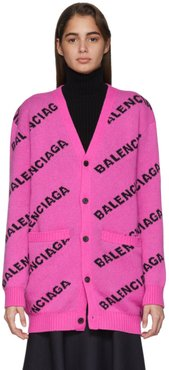 Pink All Over Logo Cardigan