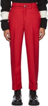 Red Belted Slim Tube-Leg Trousers