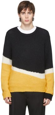 Black and Yellow Knit Wool Modernist Sweater