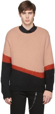 Pink and Black Knit Wool Modernist Sweater