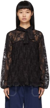 Black Pleated Lace Blouse