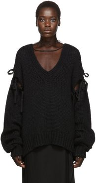 Black Knitted V-Neck Sweater