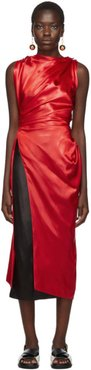 Red Satin Tunic Blouse
