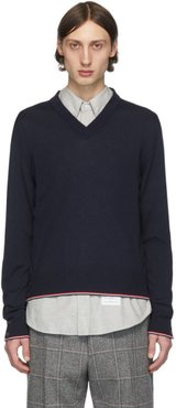 Navy Cashmere Classic V-Neck Pullover