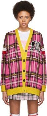 SSENSE Exclusive Pink and Yellow Check Varsity Cardigan