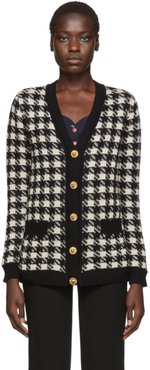 Black and Off-White Oversized Houndstooth Cardigan