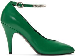 Green Crystal Ankle Strap Heels