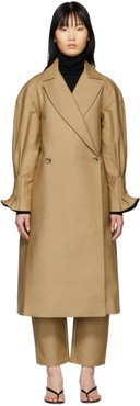 Beige Pleat Back Trench Coat
