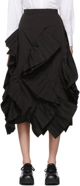 Black Twill Pleated Frill Skirt