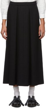 Navy Compressed Wool Split Long Skirt