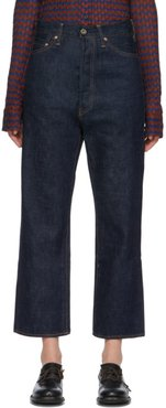 Indigo Wide Tapered Cut Selvedge Jeans