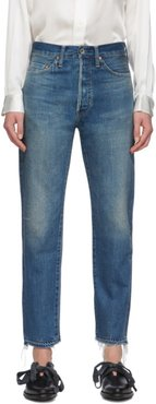 Blue Narrow Tapered Cut Selvedge Jeans