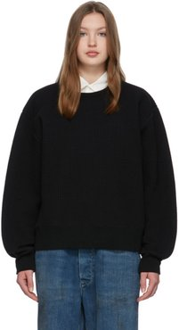 Black Quilted Crewneck Sweater