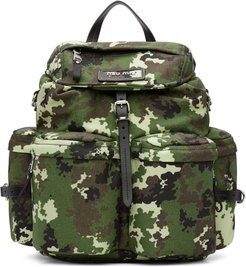 Green Camo Leather and Cordura Backpack