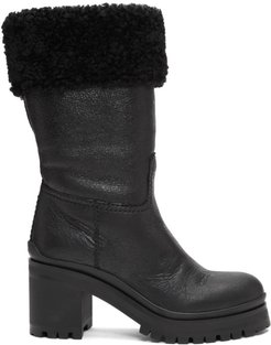 Black Shearling Crinkled Boots