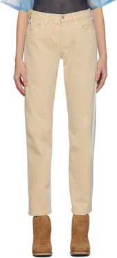 Beige and Grey Levis Edition Panelled 501 Jeans