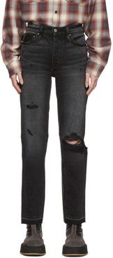 Black Leather and Denim Cropped Straight Jeans
