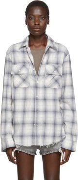 Blue and Off-White Flannel Plaid Shirt